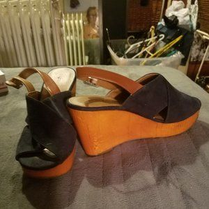 Lucky Brand Blue Suede Wedges